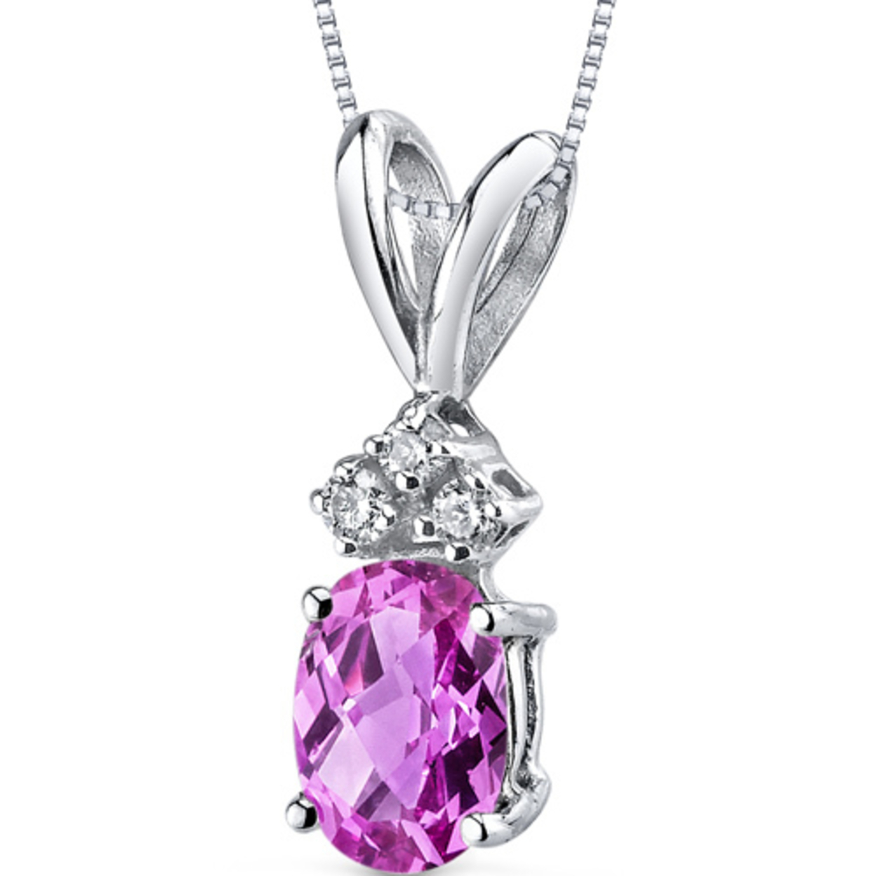 14 Karat White Gold Oval Shape 1.00 Carats Created Pink Sapphire Diamond Pendant