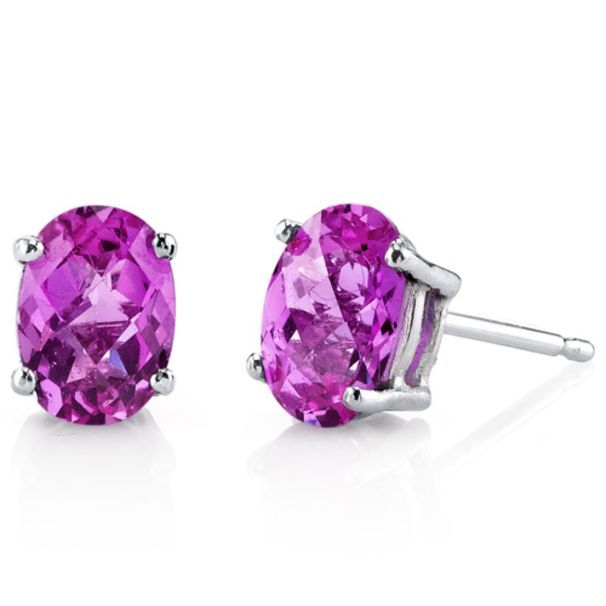 14 Karat White Gold Oval Shape 2.00 Carats Created Pink Sapphire Stud Earrings