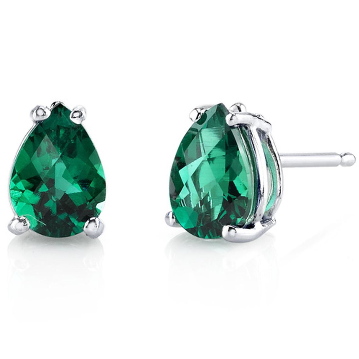 14 Karat White Gold Pear Shape 1.25 Carats Created Emerald Stud Earrings