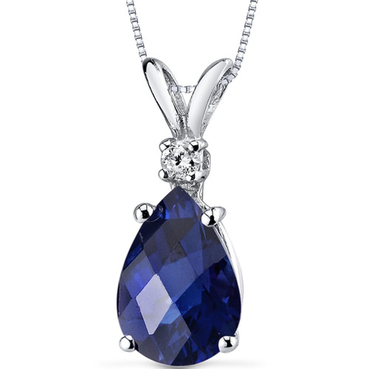 14 Karat White Gold Pear Shape 2.50 Carats Created Blue Sapphire Diamond Pendant