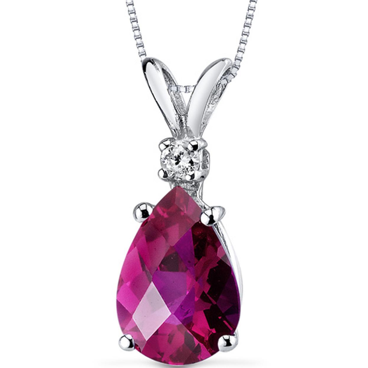 14 Karat White Gold Pear Shape 2.50 Carats Created Ruby Diamond Pendant