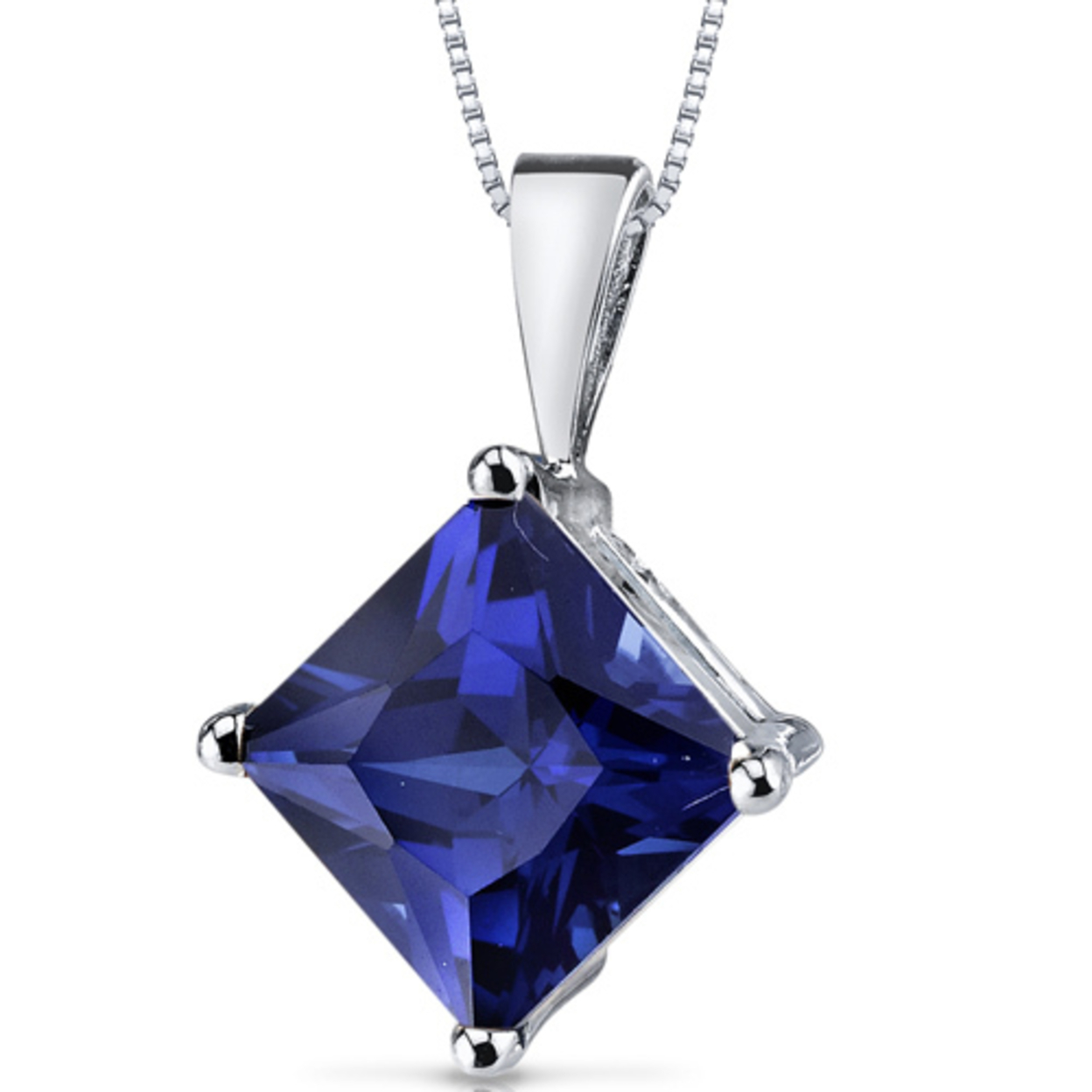 14 Karat White Gold Princess Cut 3.50 Carats Created Blue Sapphire Pendant