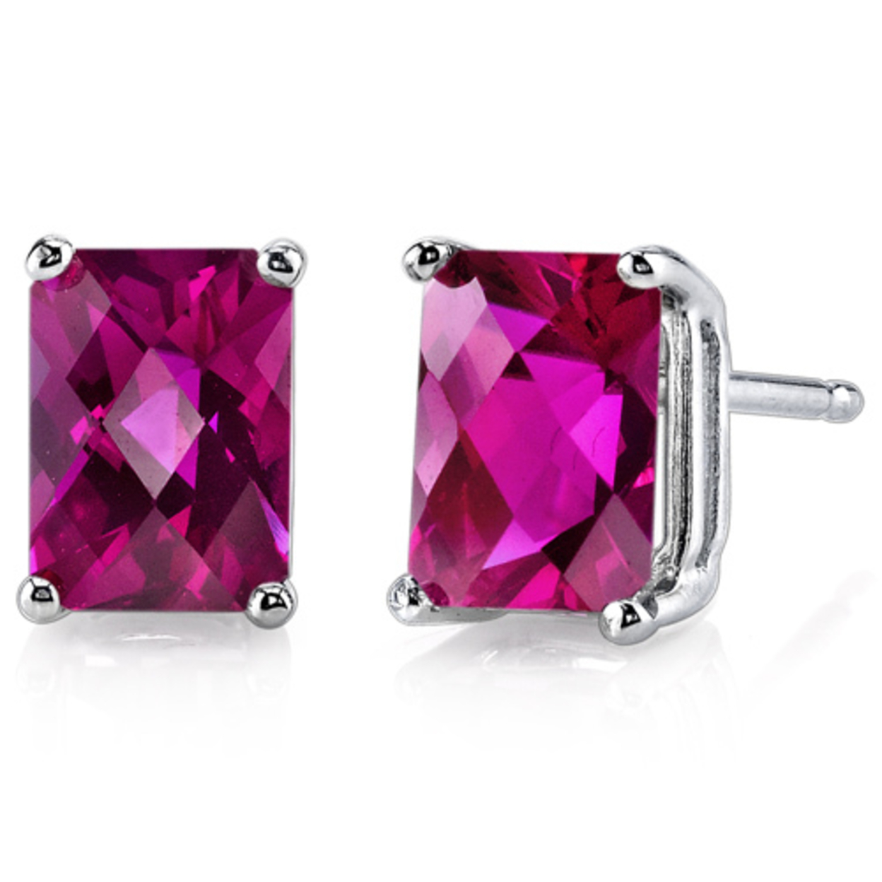14 Karat White Gold Radiant Cut 2.50 Carats Created Ruby Stud Earrings
