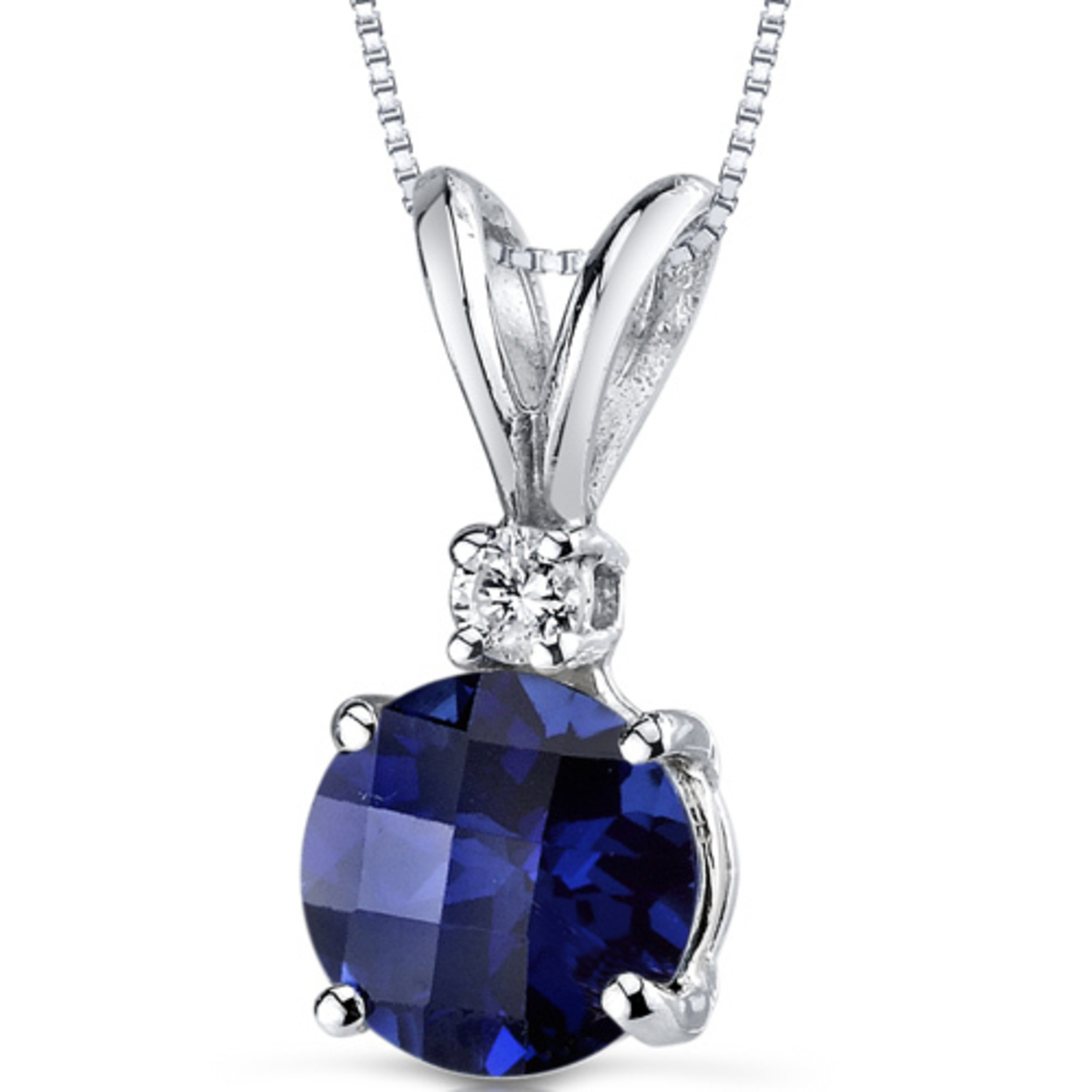 14 Karat White Gold Round Cut 1.50 Carats Created Blue Sapphire Diamond Pendant