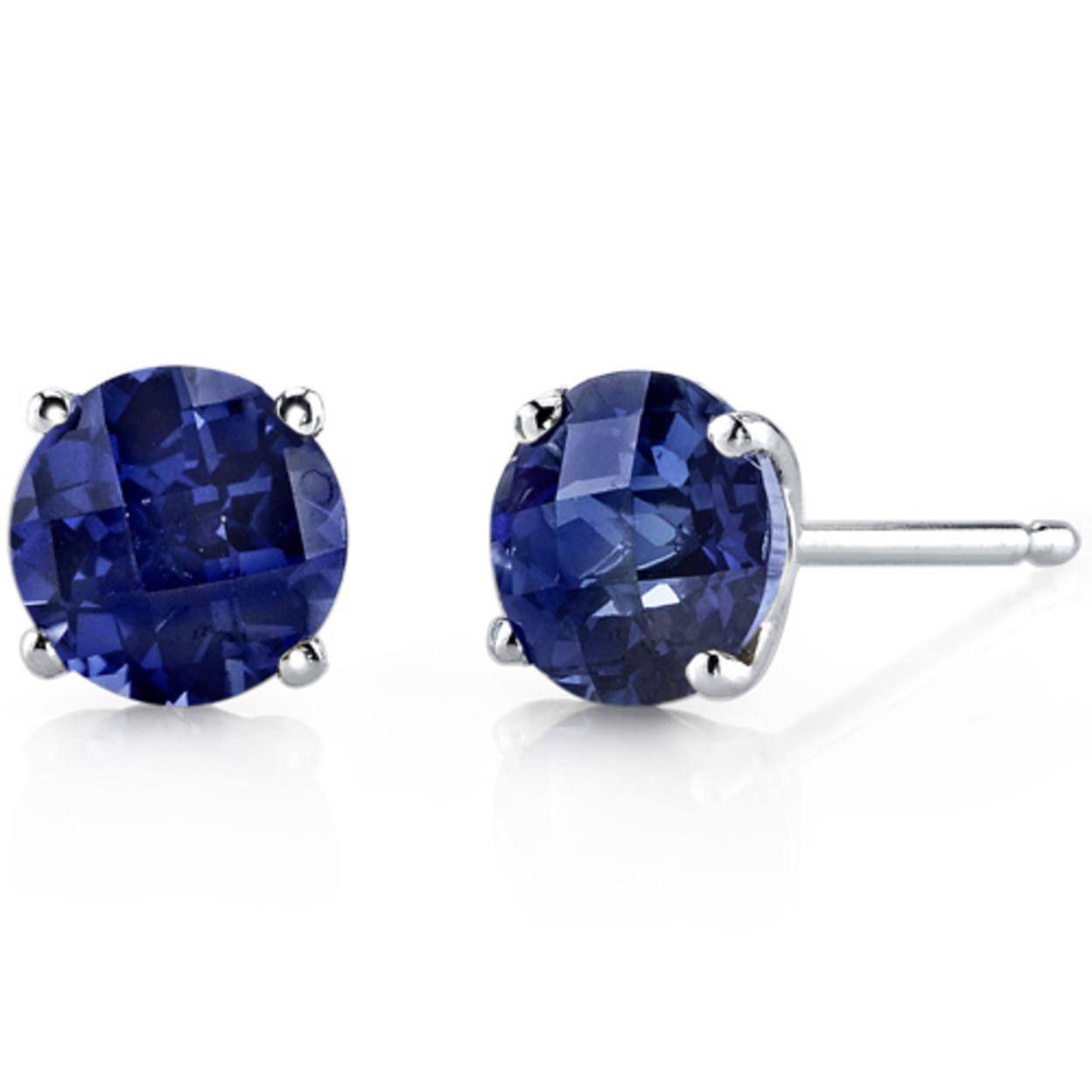 14 Karat White Gold Round Cut 2.25 Carats Created Blue Sapphire Stud Earrings