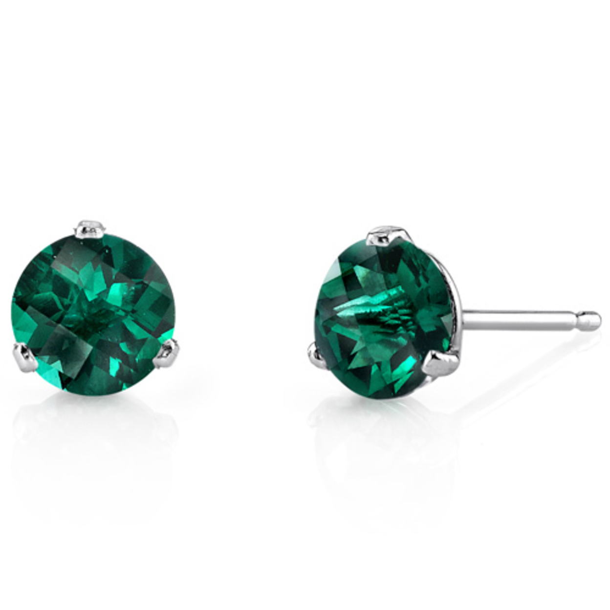 14 Kt White Gold Martini Style Round Cut 1.50 Carats Created Emerald Stud Earrings