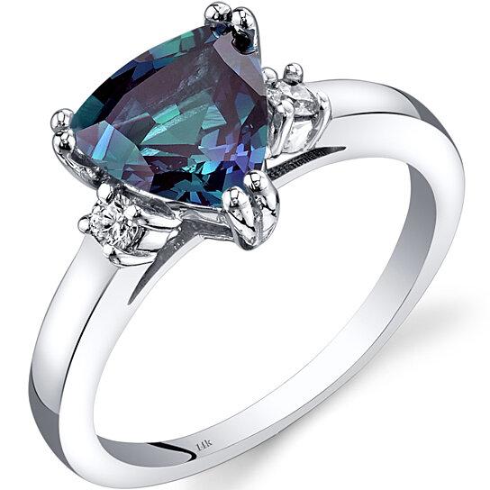 buy 14k white gold created alexandrite diamond ring