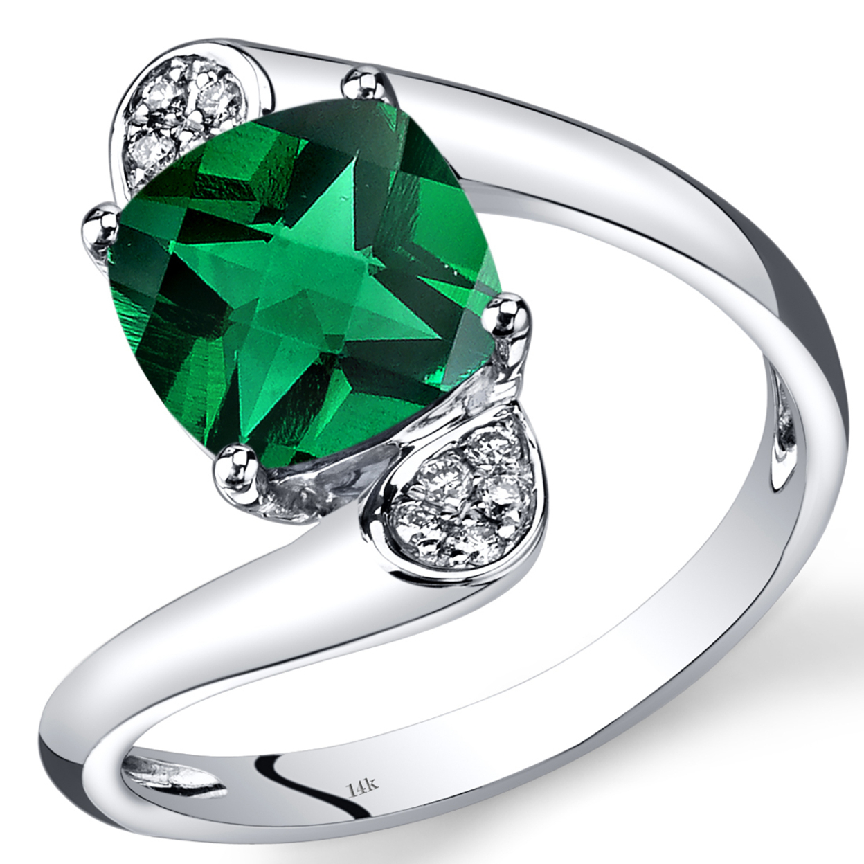14k White Gold Created Emerald Diamond Bypass Ring Cushion Cut 2.08 Carats Total R62598