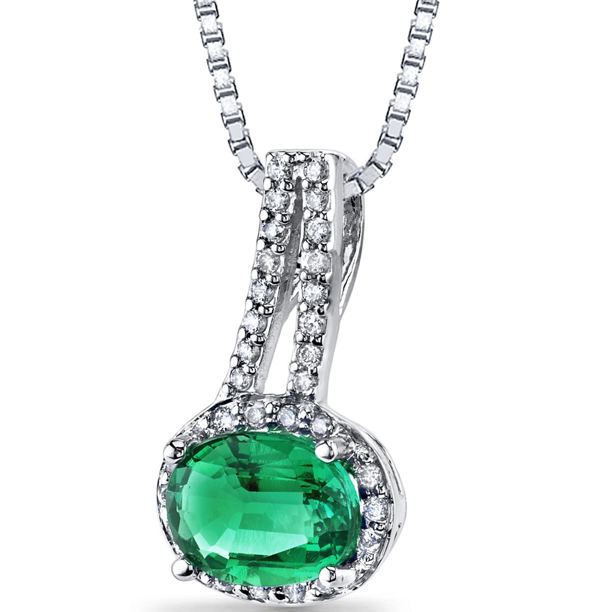 14k White Gold Created Emerald Diamond Pendant Oval Cut 1.25 Carats Total