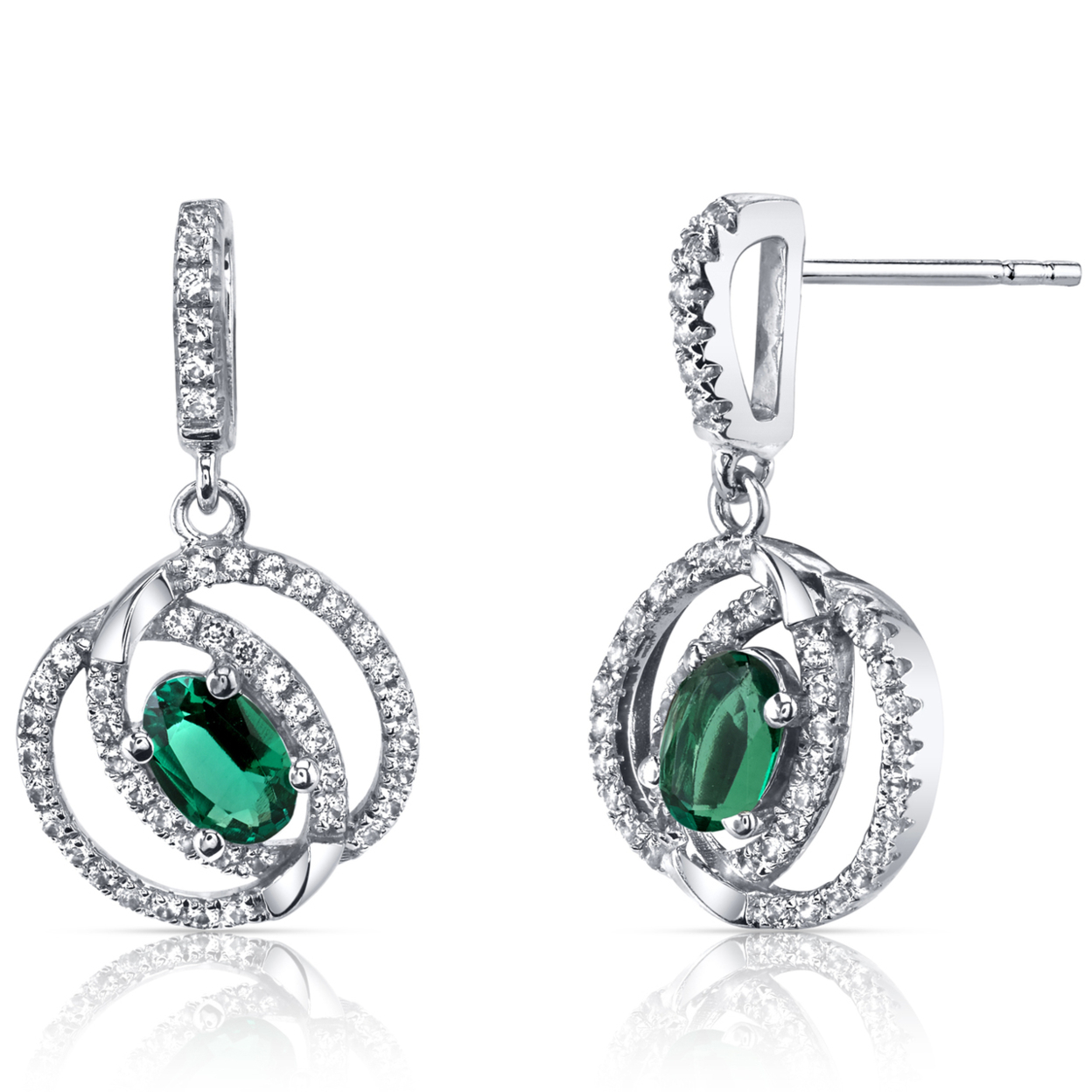 14k White Gold Created Emerald Earrings Dual Halo Design 0.75 Carats
