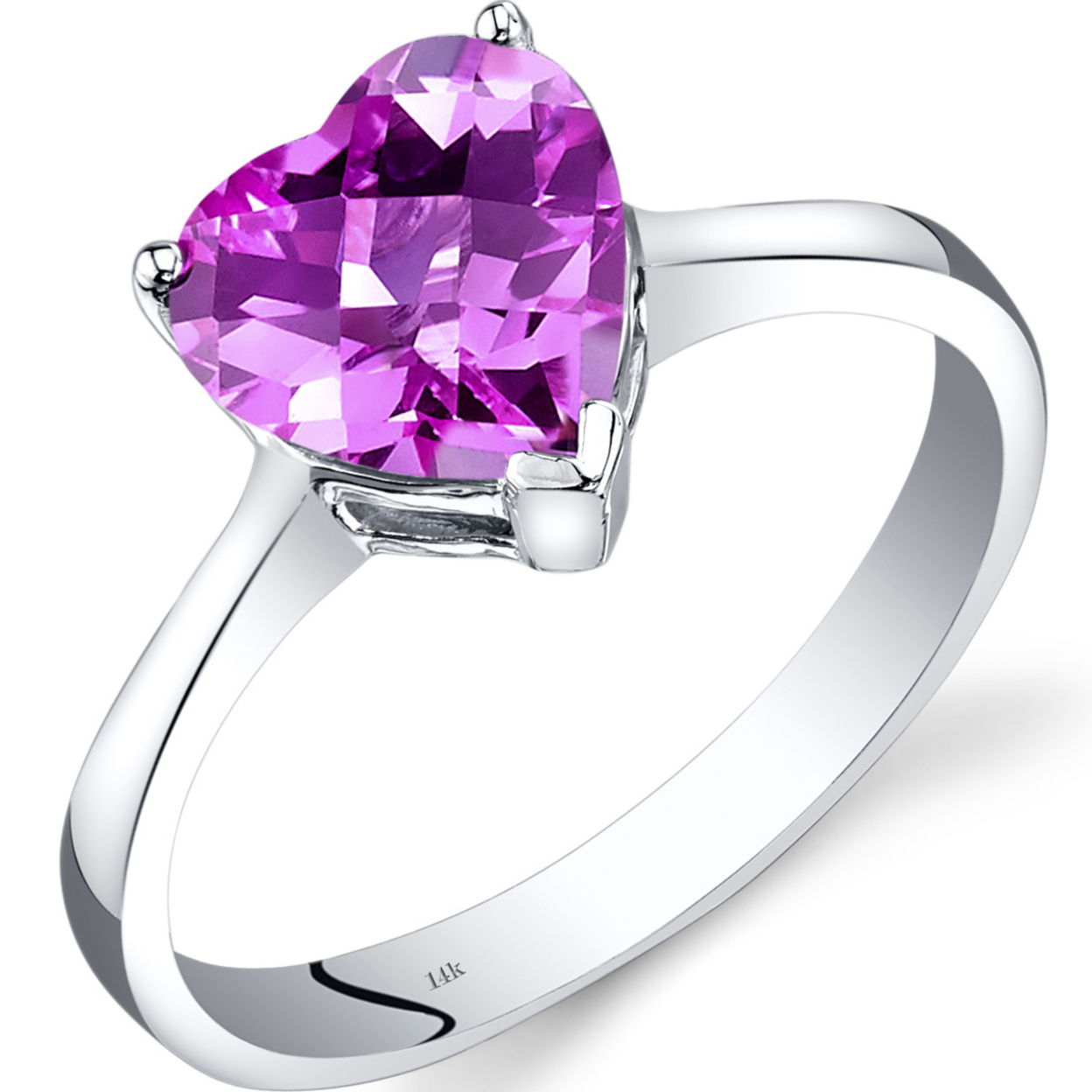 14k White Gold Created Pink Sapphire Heart Solitaire Ring 2.50 Carat R62342