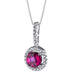 14K White Gold Created Ruby Halo Pendant 1.00 Carats
