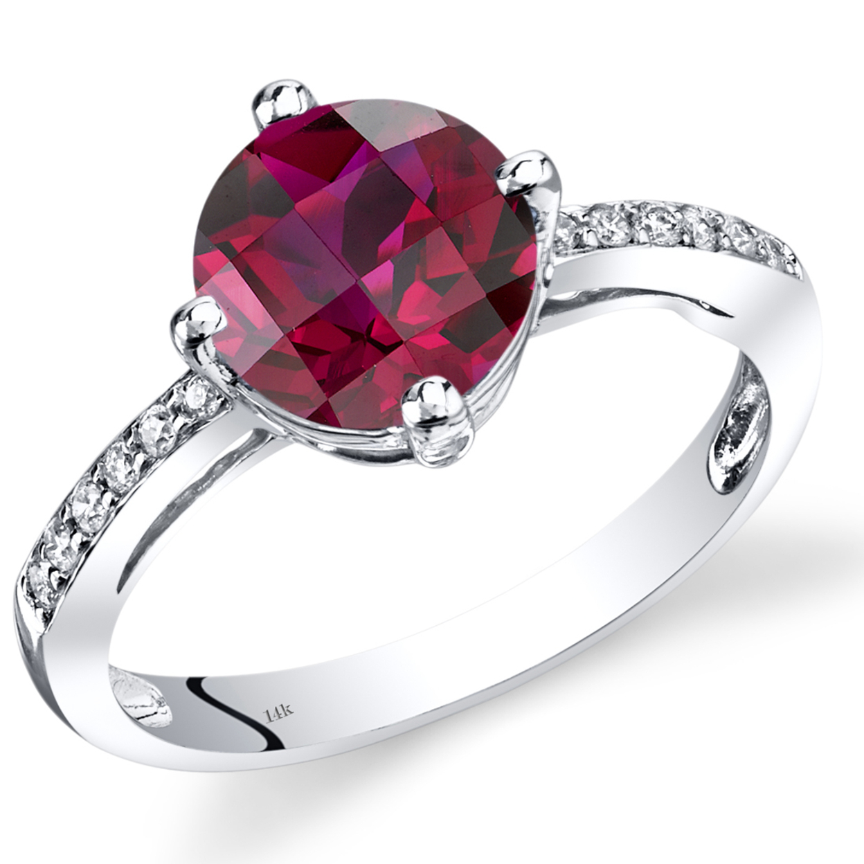 14k White Gold Created Ruby Solitaire Diamond Accent Ring 2.5 Carats Total