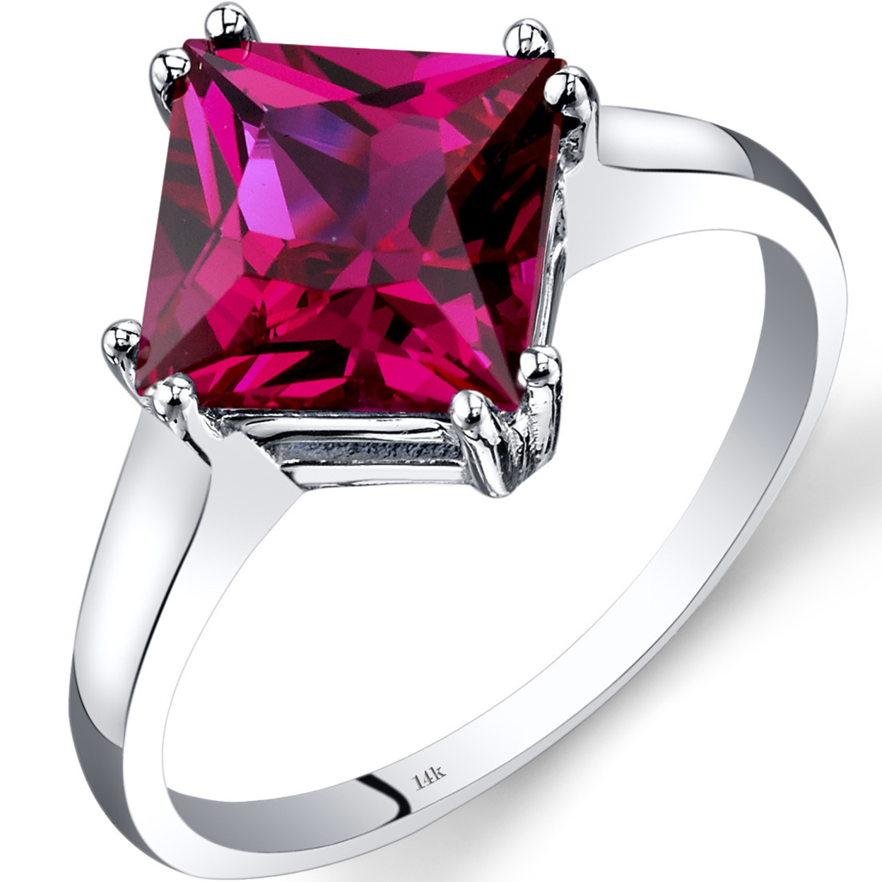 14k White Gold Created Ruby Solitaire Ring 3.25 Carat Princess Cut R62192