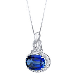 14K White Gold Created Sapphire and Lab Grown Diamond Pendant 8.96 carats total