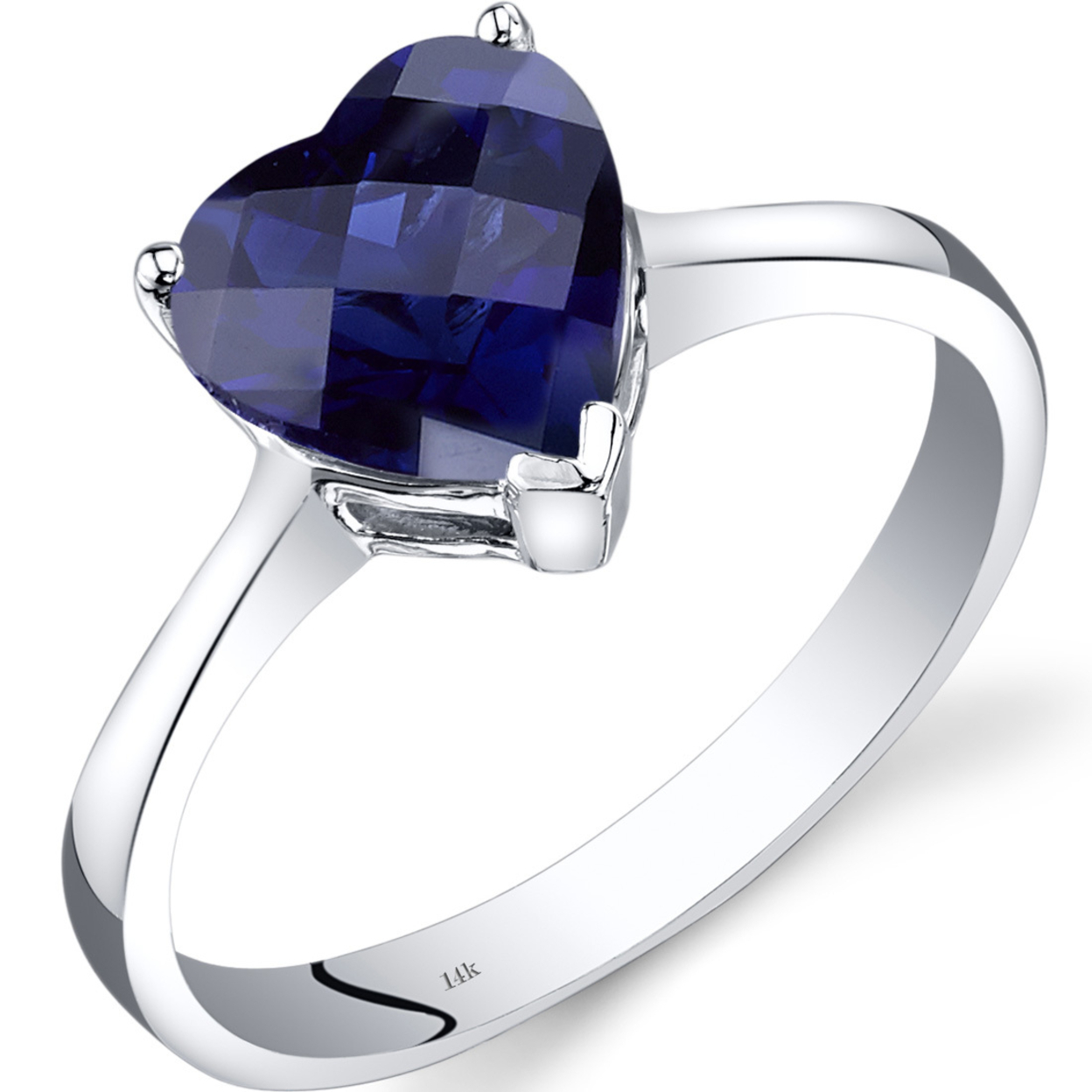 14k White Gold Created Sapphire Heart Solitaire Ring 2.50 Carat R62340