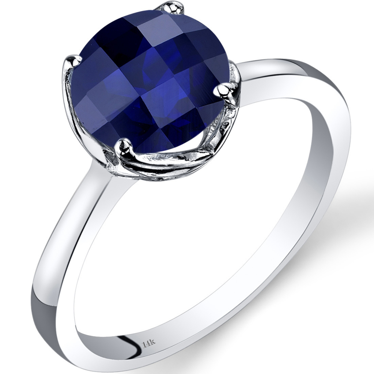 14k White Gold Created Sapphire Solitaire Ring 2.50 Carat Checkerboard Cut R62214