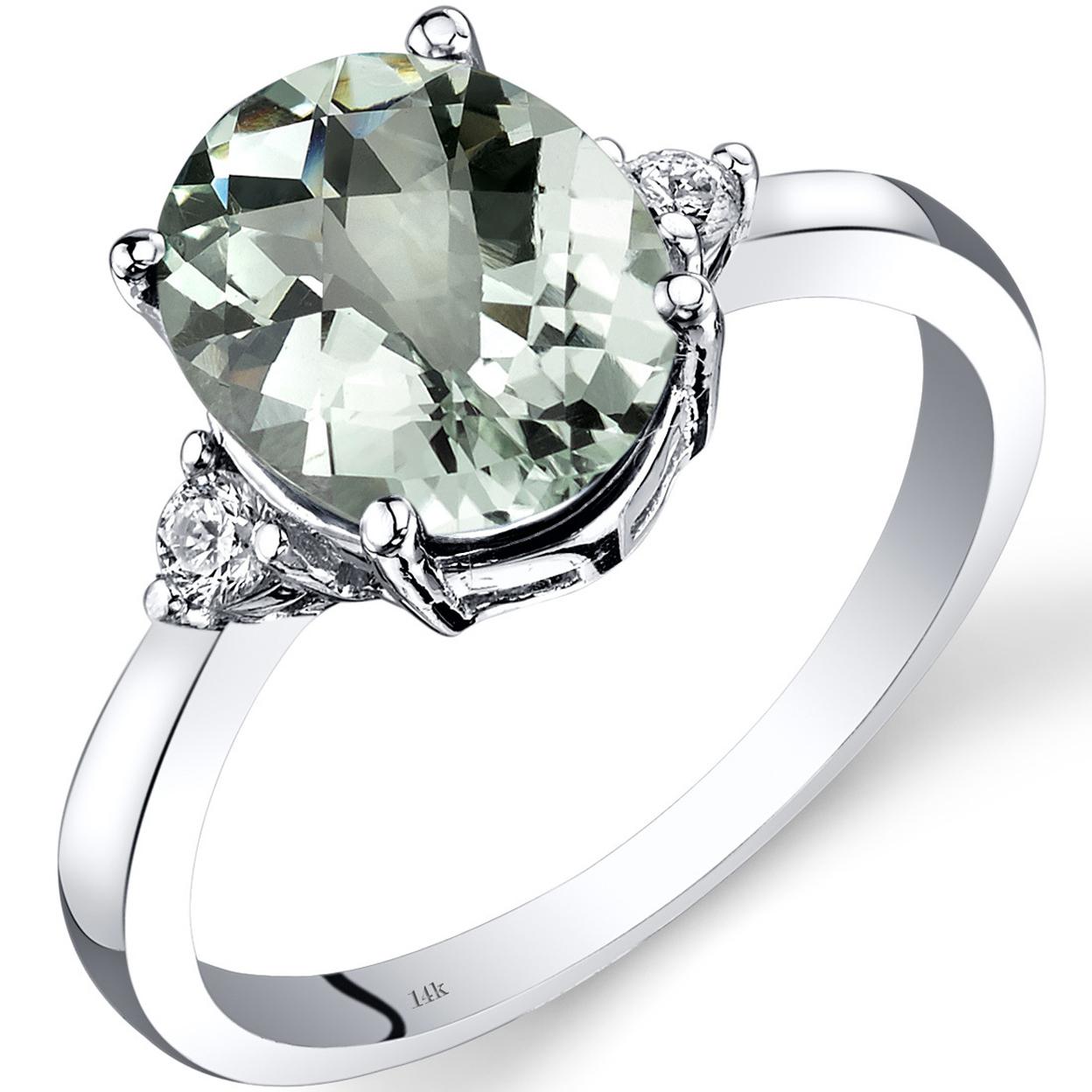 14k White Gold Green Amethyst Diamond Ring 2.25 Carat Oval Cut R62166