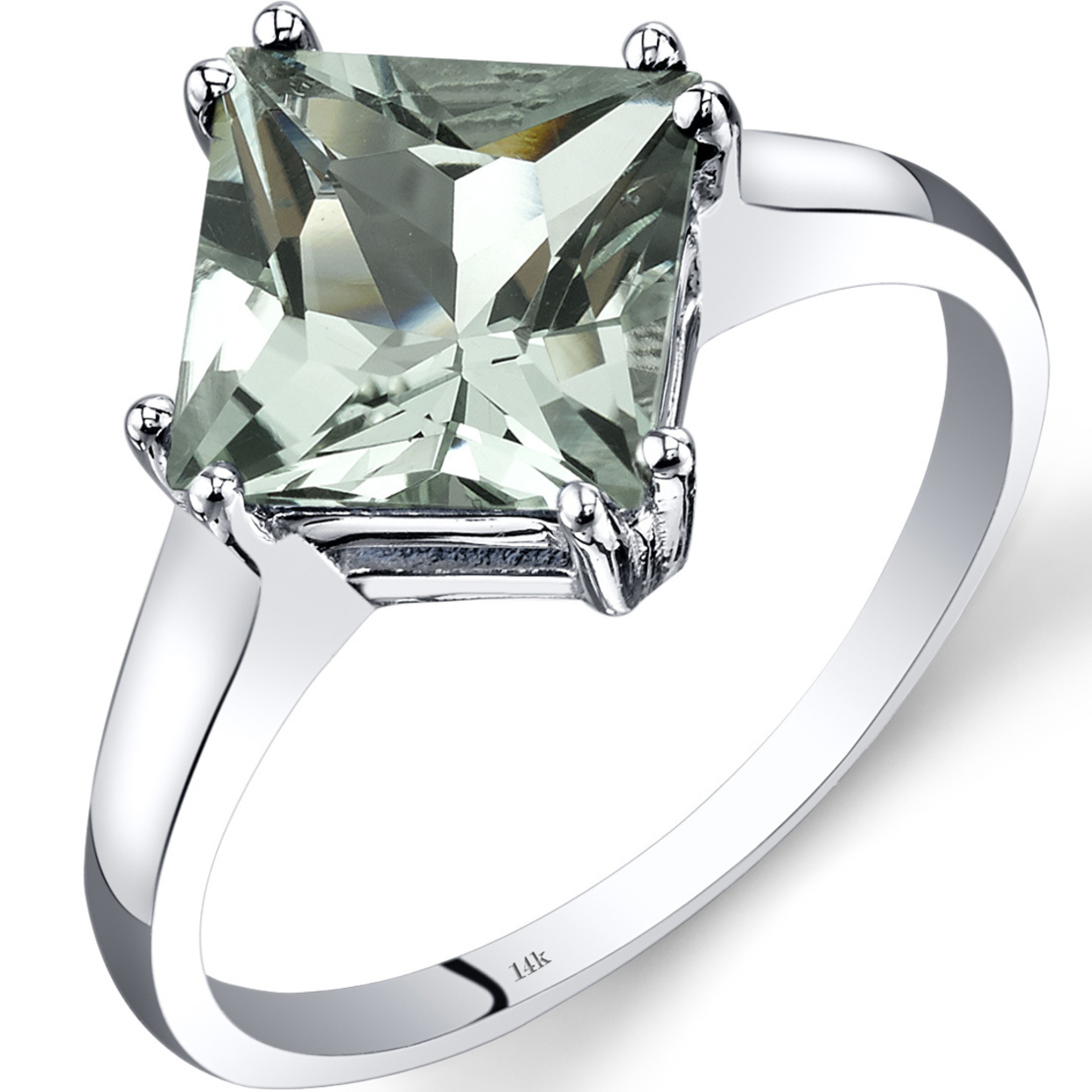 14k White Gold Green Amethyst Solitaire Ring 2.00 Carat Princess Cut R62186