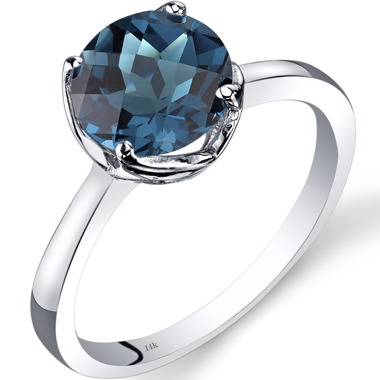14k White Gold London Blue Topaz Solitaire Ring 2.25 Carat Checkerboard Cut R62210