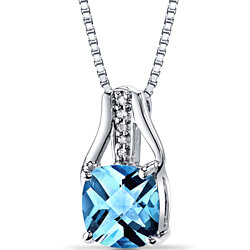 14K White Gold Swiss Blue Topaz Diamond Pendant Cushion Checkerboard Cut 2.5 Carats Total