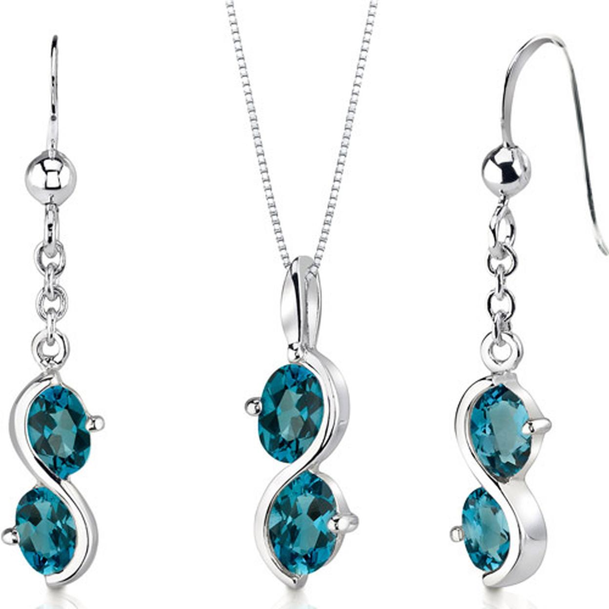 2 Stone 3.75 Carats Oval Shape Sterling Silver London Blue Topaz Pendant Earrings Set Style Ss3398