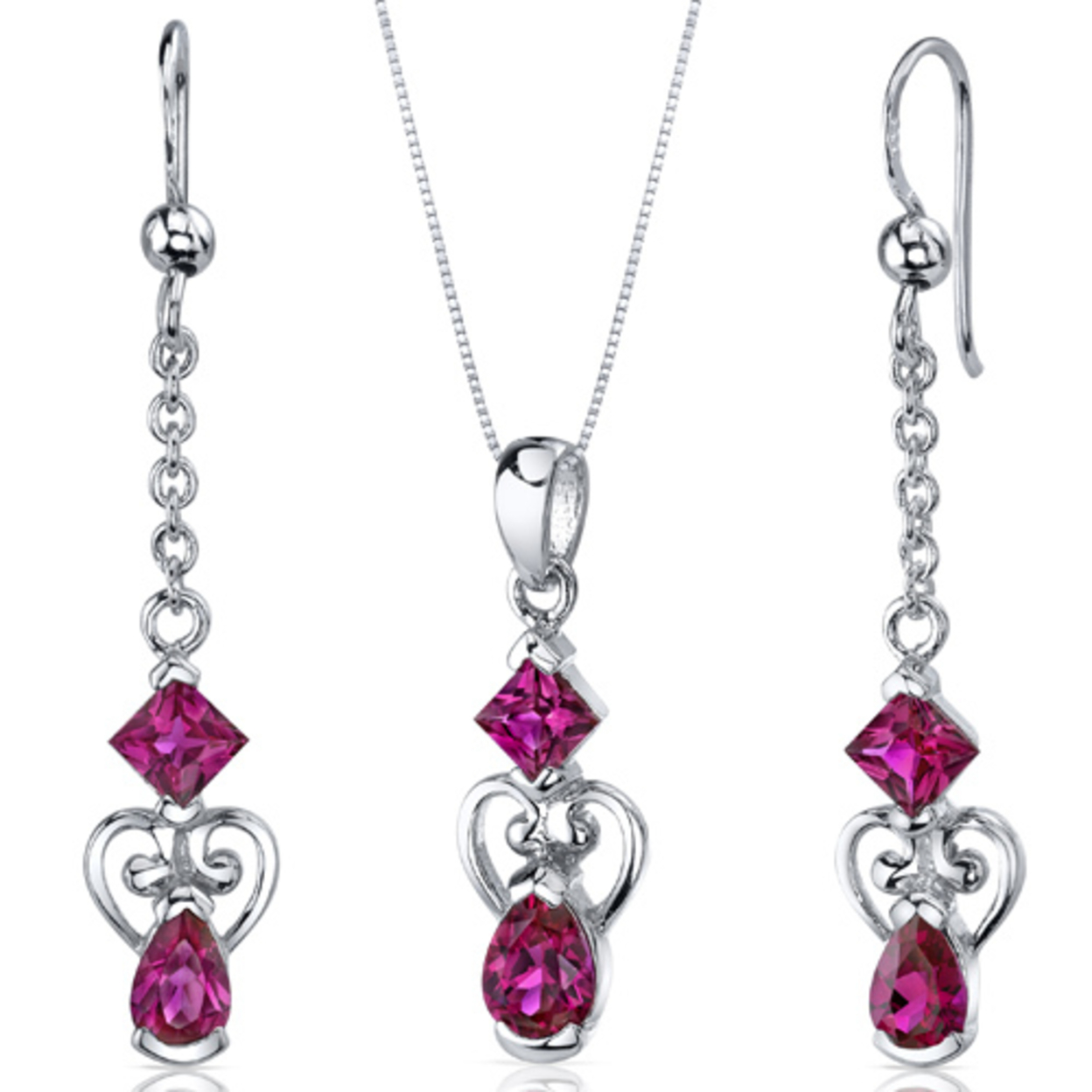 2 Stone Heart Design 2.75 Carats Pear Shape Sterling Silver Ruby Pendant Earrings Set Style Ss3652