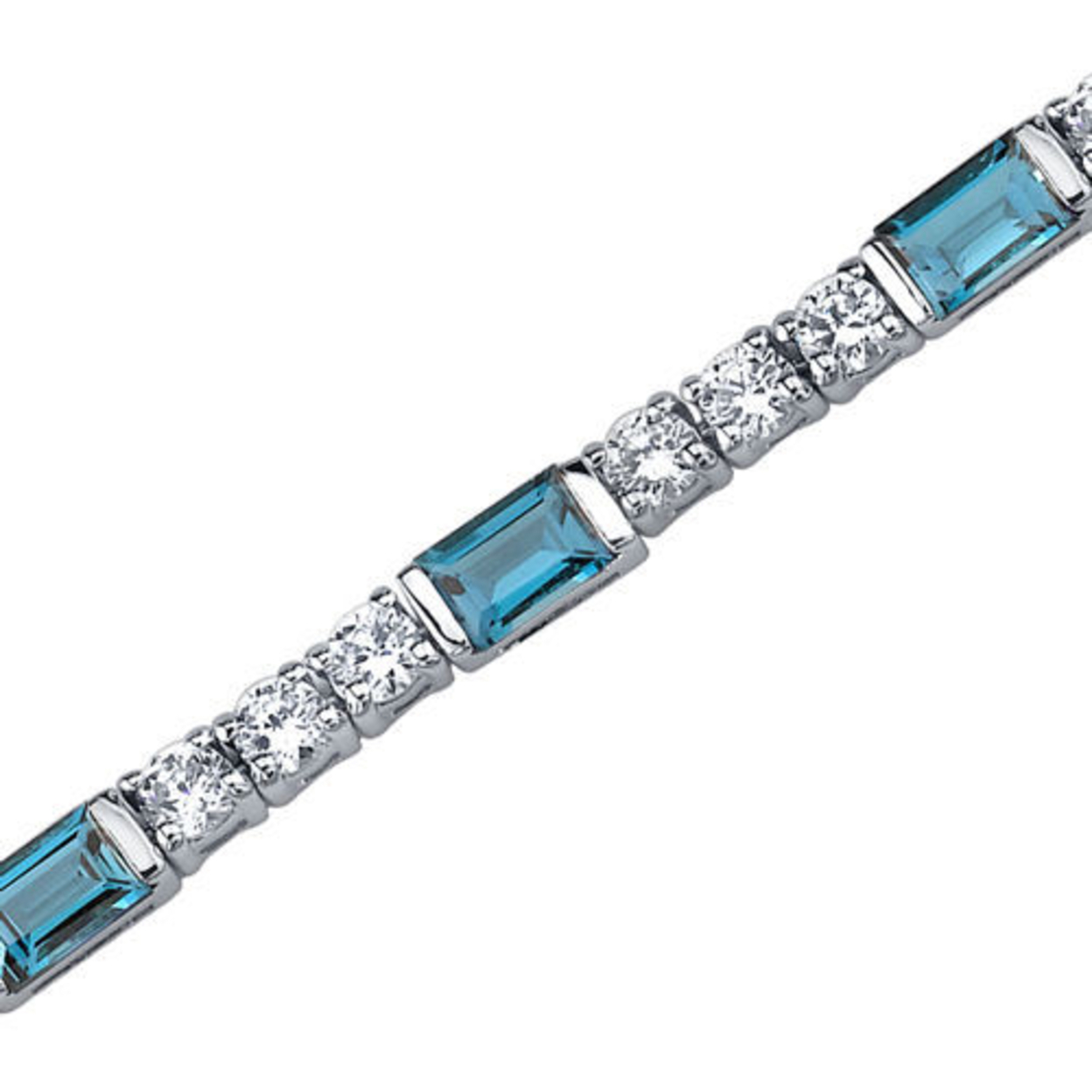 5.75 Carats Baguette Cut London Blue Topaz & White Cz Bracelet In Sterling Silver Style Sb3760