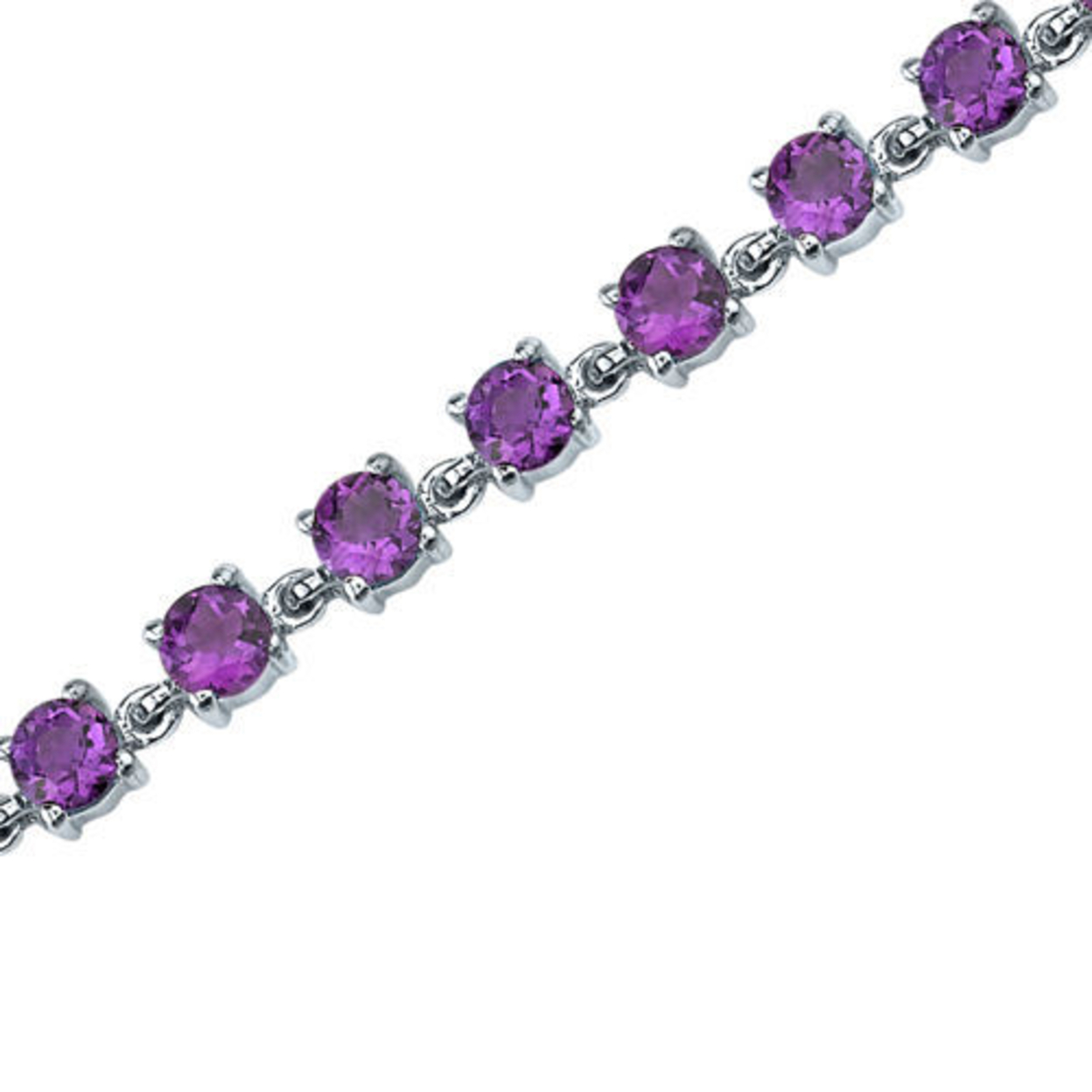 6.00 Carats Round Shape Amethyst Bracelet In Sterling Silver Style Sb3670