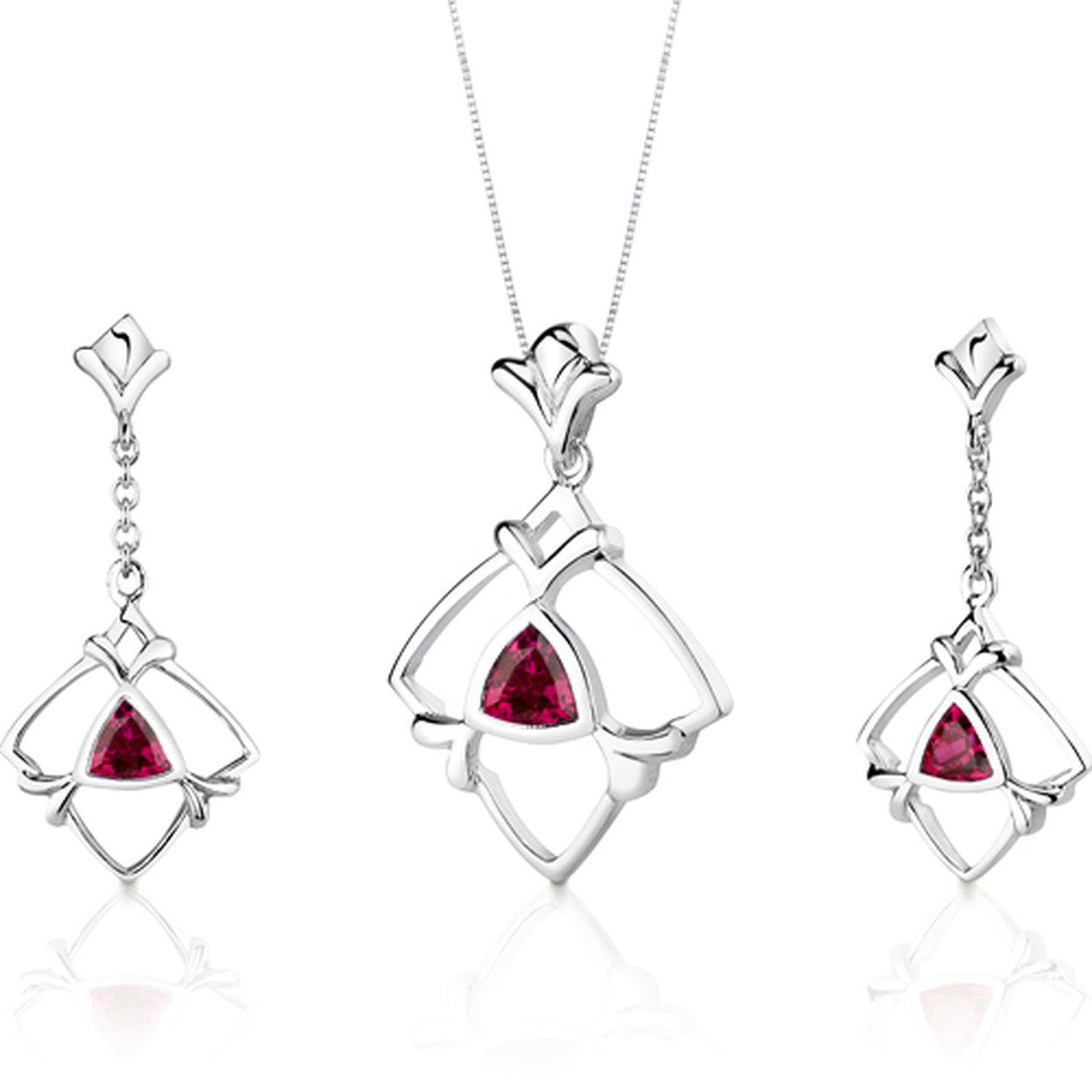 Artful 2.25 Carats Trillion Cut Sterling Silver Ruby Pendant Earrings Set Style Ss3134