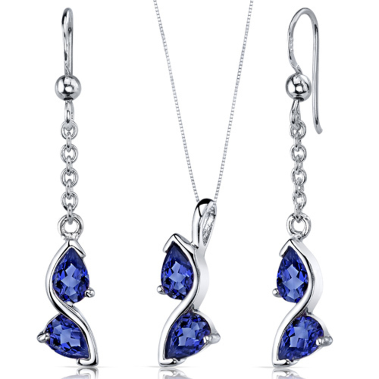 Artistic 3.00 Carats Pear Shape Sterling Silver Sapphire Pendant Earrings Set Style Ss3710