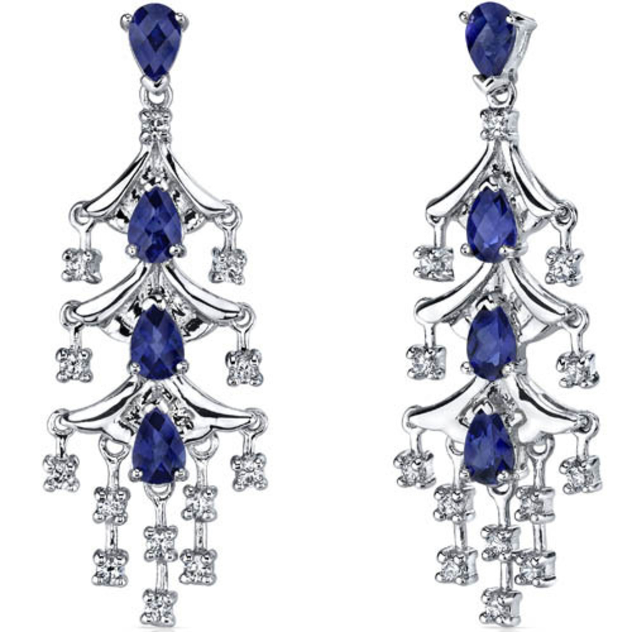 Captivating Seduction 4.00 Carats Blue Sapphire Dangle Earrings In Sterling Silver Style Se7198