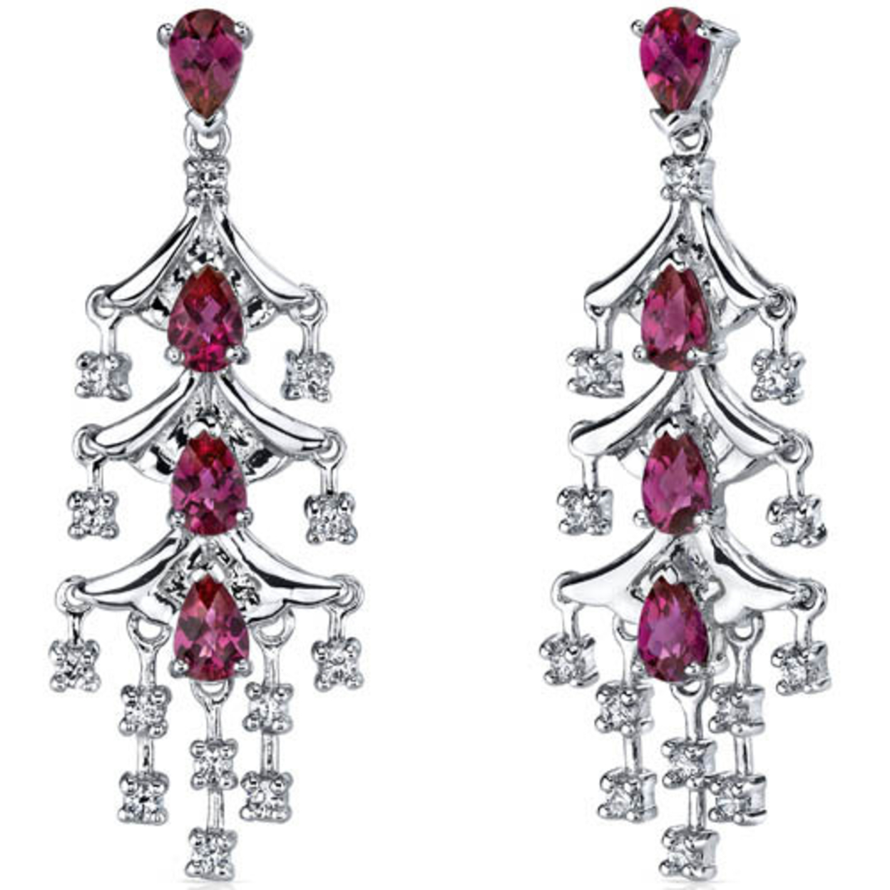 Captivating Seduction 4.00 Carats Ruby Dangle Earrings In Sterling Silver Style Se7194
