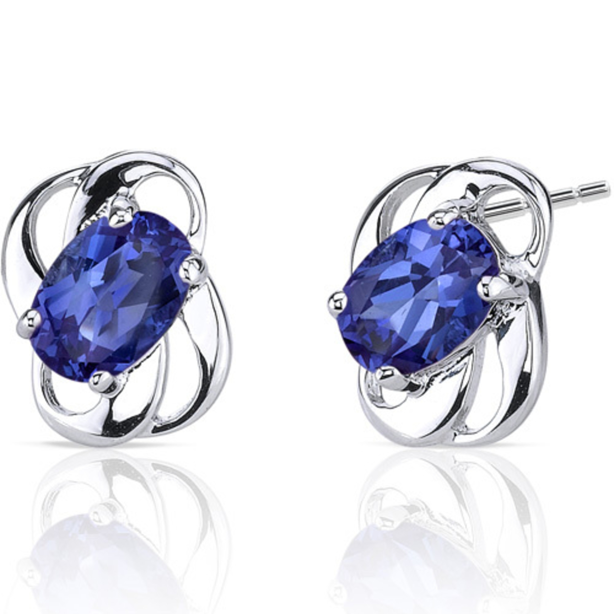 Classy 2.00 Carats Sapphire Earrings In Sterling Silver Style Se6974