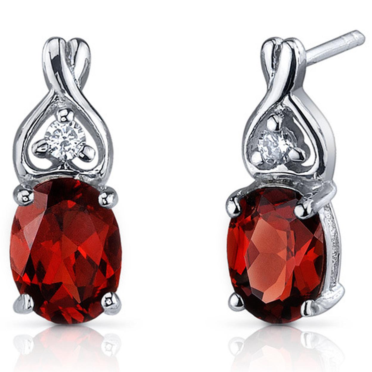 Classy Style 3.00 Carats Garnet Oval Cut Cz Earrings In Sterling Silver Style Se7206