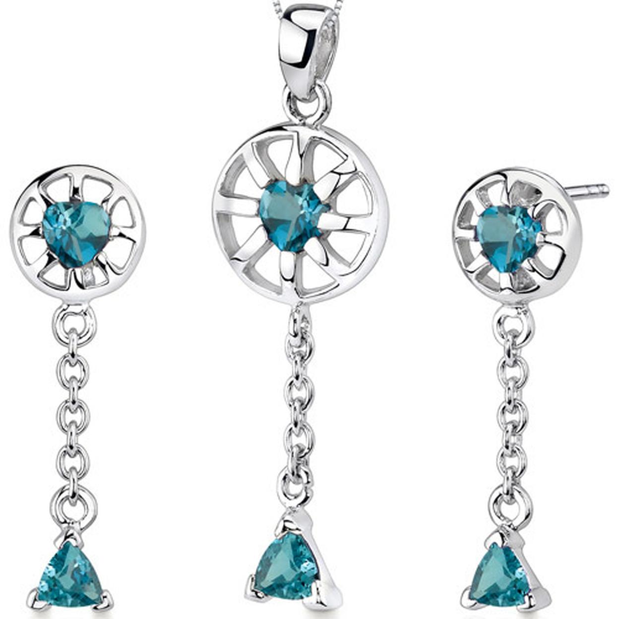 Dainty 2.00 Carats Trillion Heart Shape Sterling Silver London Blue Topaz Pendant Earrings Set Style Ss3286