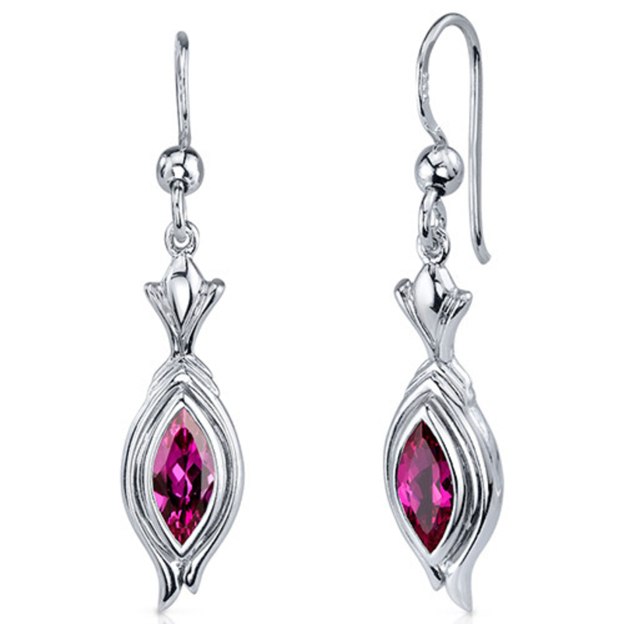 Dynamic Dangle 1.50 Carats Ruby Marquise Cut Earrings In Sterling Silver Style Se7862