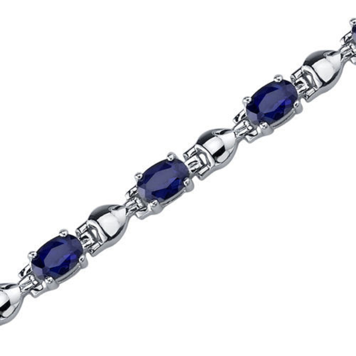 Exquisite Classic: Oval Shape Blue Sapphire Gemstone Bracelet In Sterling Silver Style Sb3752