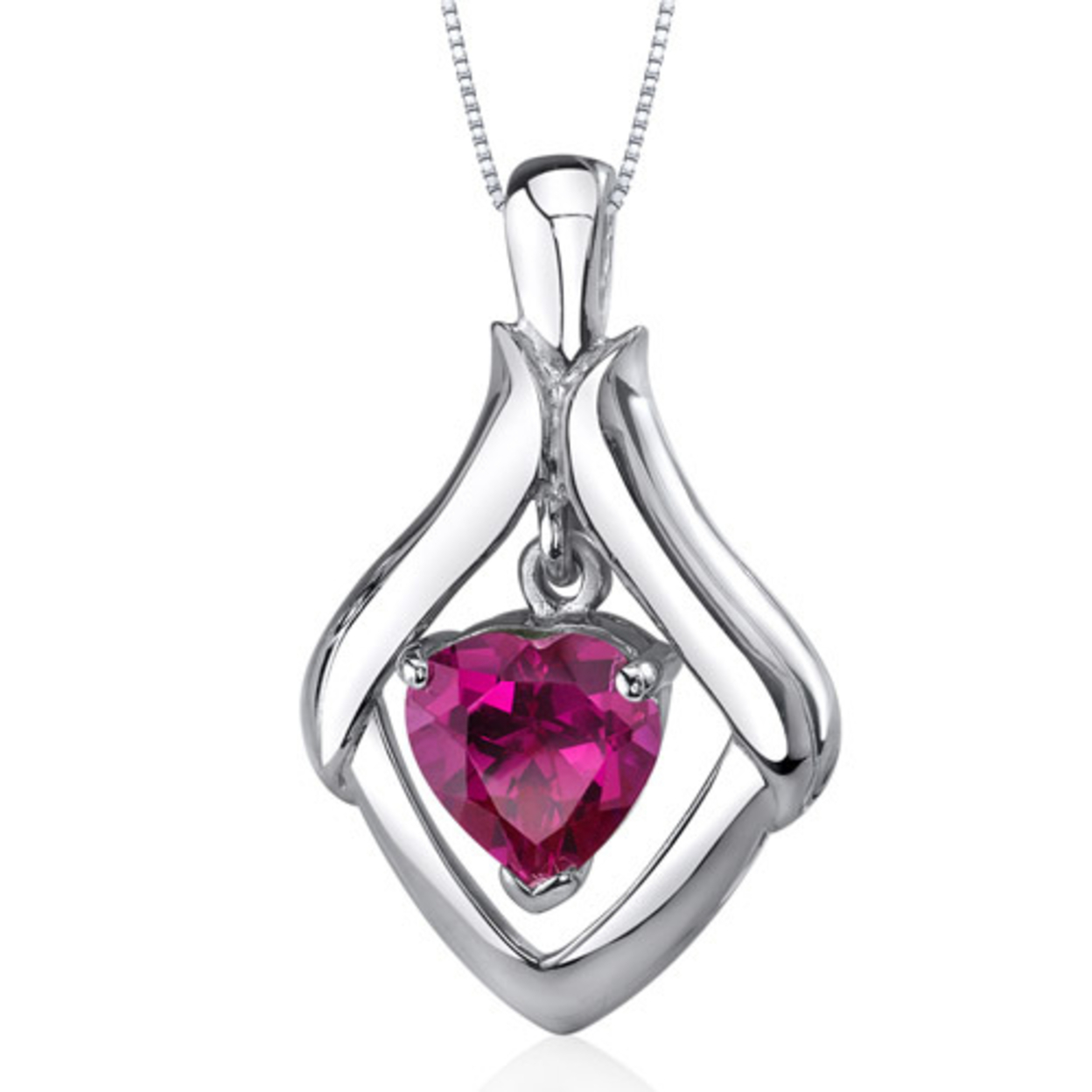 Exuberant Love 3.50 Carats Heart Shape Sterling Silver Ruby Pendant Style Sp9788