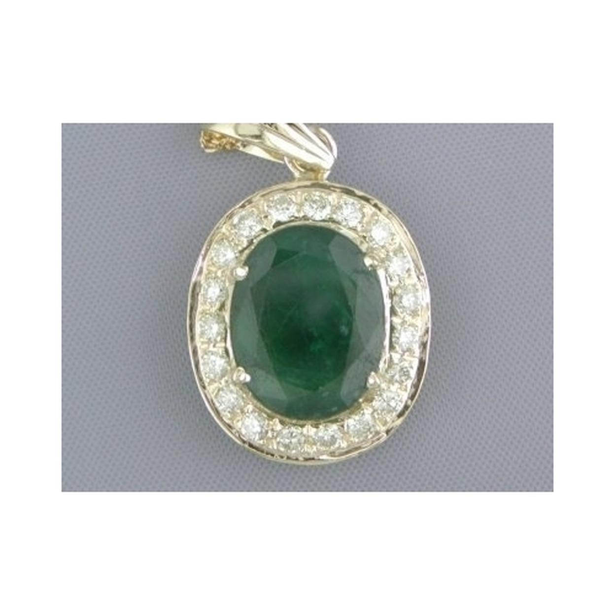Fabulous 5.70cts Oval Emerald & H/vs Diamond Pendant Style P8230