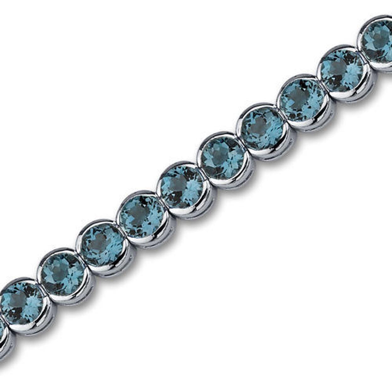 Firey 19.00 Carats Round Cut London Blue Topaz Tennis Bracelet In Sterling Silver Style Sb2754