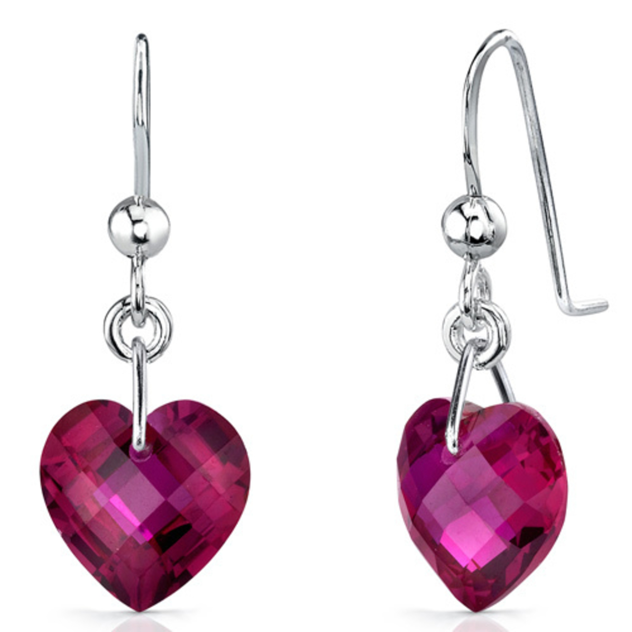 Gorgeous 9.50 Carats Heart Shape Ruby Earrings In Sterling Silver Style Se7098