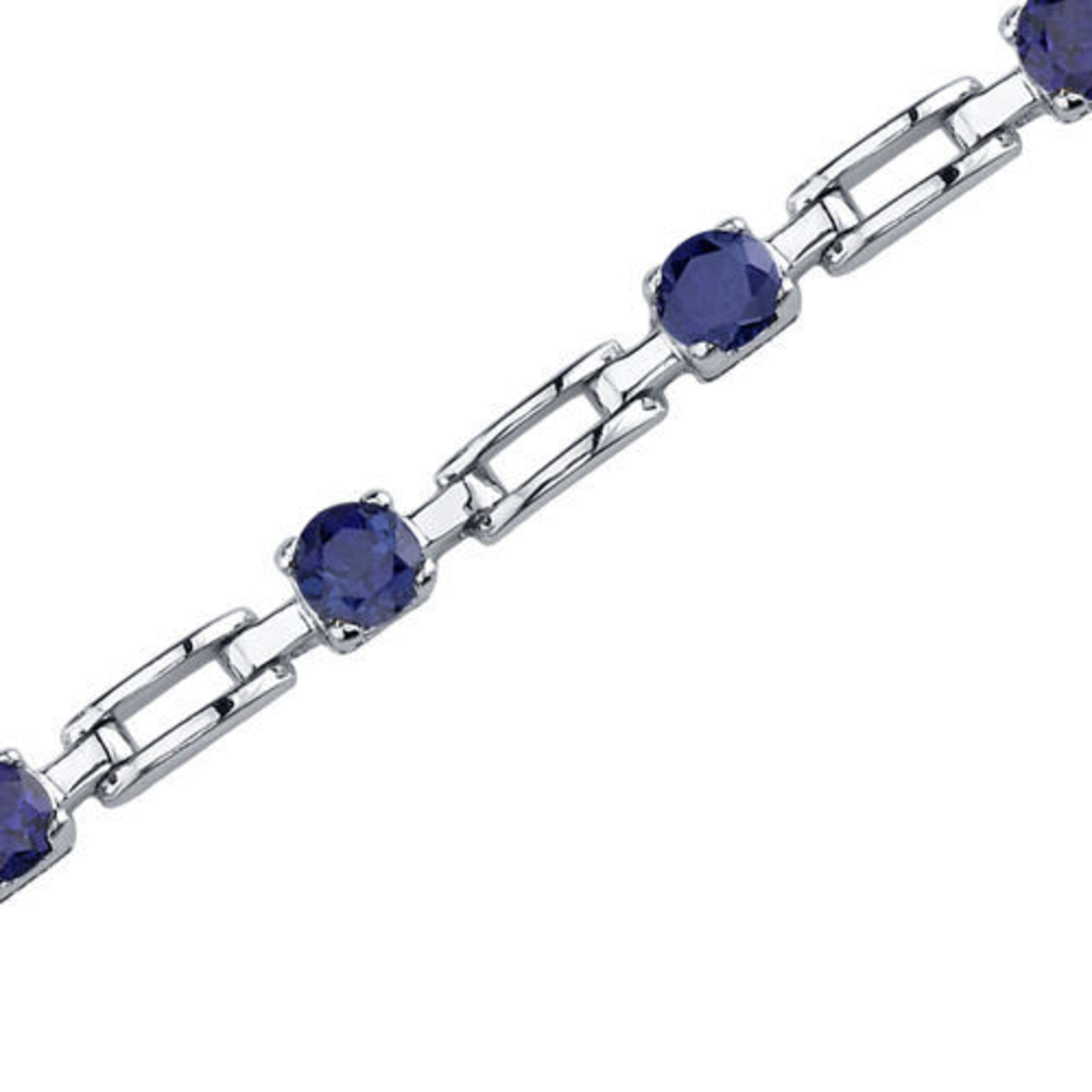 Gorgeous And Chic: Round Shape Blue Sapphire Gemstone Bracelet In Sterling Silver Style Sb3584