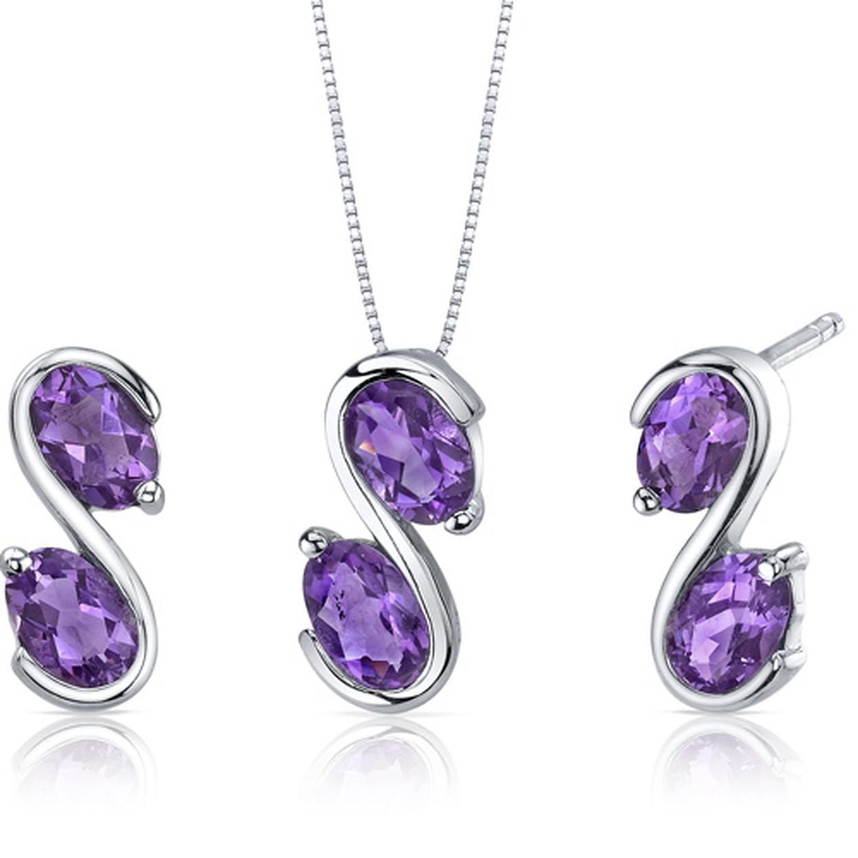 Graceful Elegance 3.00 Carats Oval Cut Sterling Silver Amethyst Pendant Earrings Set Style Ss3628