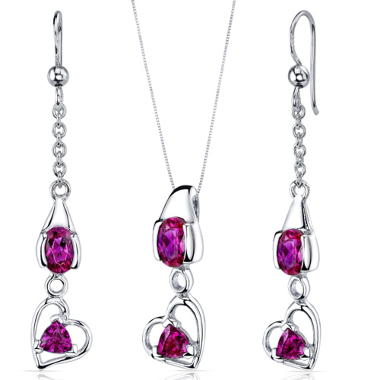 Heart Design 2.25 Carats Sterling Silver Ruby Pendant Earrings Set Style Ss3764