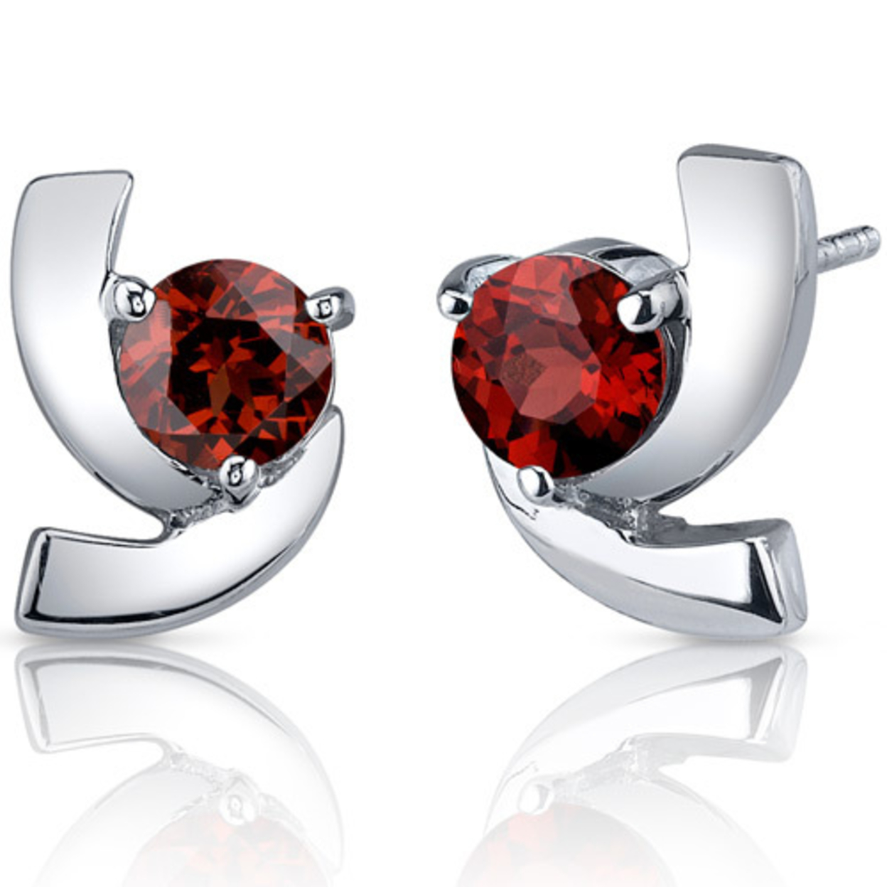 Illuminating 2.00 Carats Garnet Round Cut Earrings In Sterling Silver Style Se7584