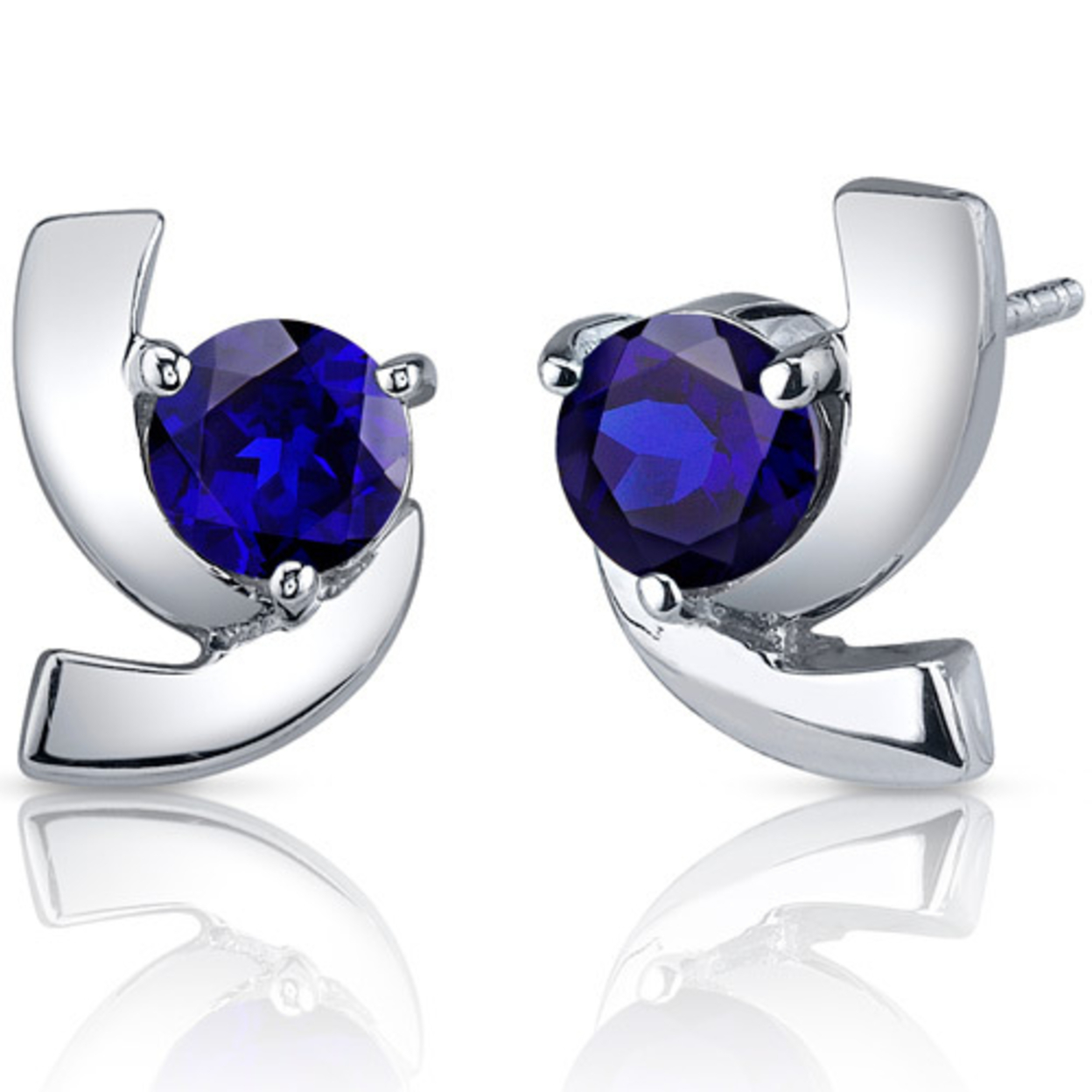 Illuminating 2.50 Carats Blue Sapphire Round Cut Earrings In Sterling Silver Style Se7594