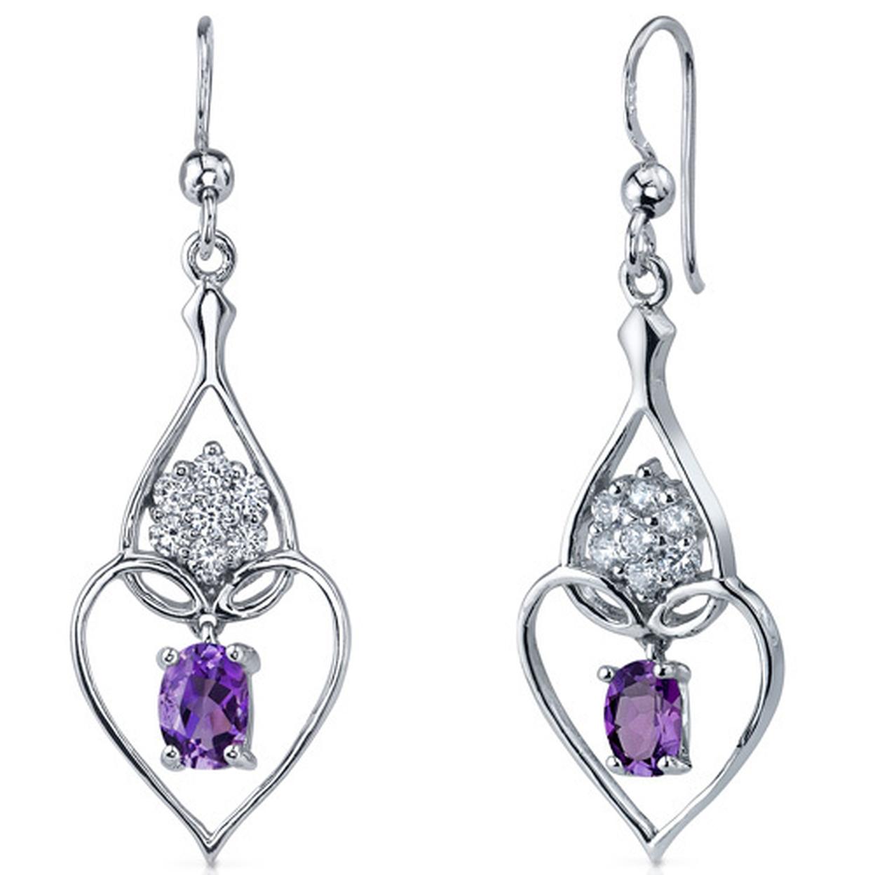 Illuminating Hearts 1.50 Carats Amethyst Oval Cut Dangle Cz Earrings In Sterling Silver Style Se7258
