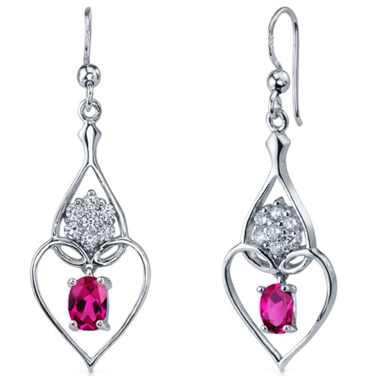 Illuminating Hearts 2.00 Carats Ruby Oval Cut Dangle Cz Earrings In Sterling Silver Style Se7268