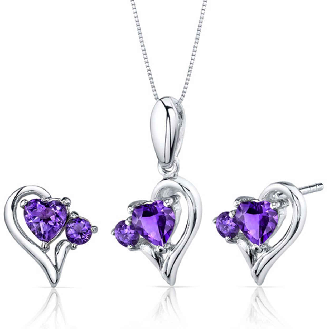 Love And Beauty 2.25 Carats Heart Shape Sterling Silver Amethyst Pendant Earrings Set Style Ss3768